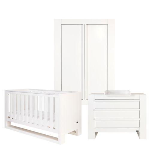 Tutti Bambini Rimini 3 Piece Room Set (Cot, Chest, Wardrobe) - High Gloss White Finish