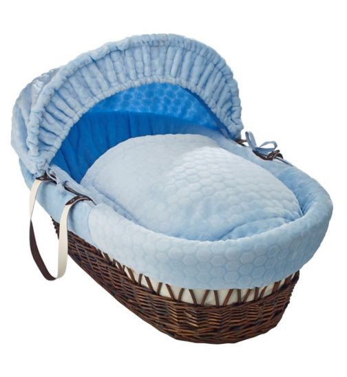 Clair de Lune Marshmallow Dark Wicker Moses Basket - Blue