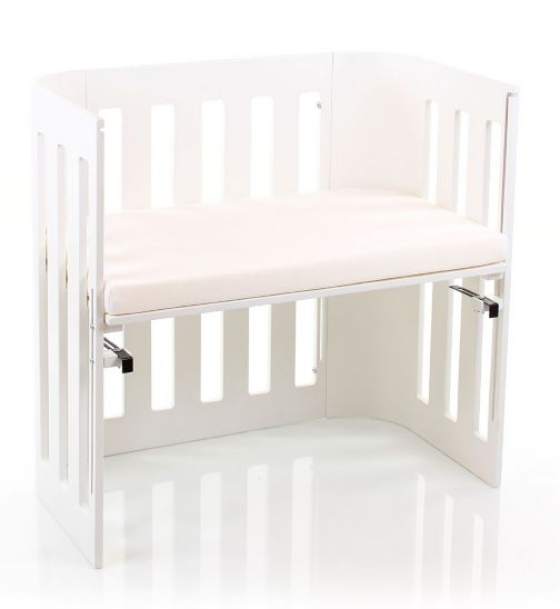 Babybay Trend Bedside Cot with Siderail & Foam/Bamboo Mattress - White