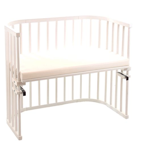 Babybay Maxi Bedside Cot with Siderail & Foam/Bamboo Mattress - White