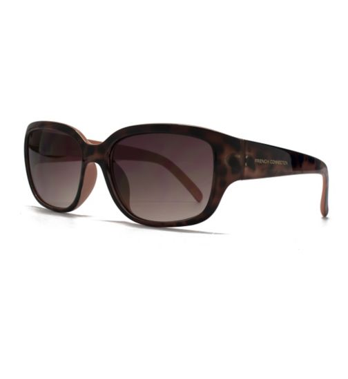 French Connection Woman Sunglass - Brown  small frame with peach interior