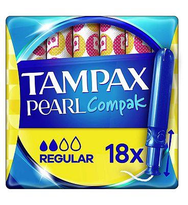 Tampax Compak Pearl Regular Applicator Tampons x18