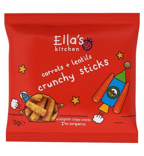 Ella's Kitchen Carrots + Lentils Crunchy Sticks Multigrain Crispy Snacks 15g