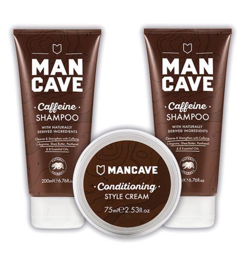 ManCave Caffeine Shampoo 200ml;ManCave Caffiene Shampoo 200ml;ManCave Conditioning Hair Cream 75ml;ManCave Conditioning Style Cream  75ml;ManCave The Explorer - Haircare Bundle