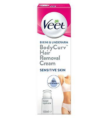 Veet Bodycurv Bikini & Underarm Hair Removal Cream for Sensitive Skin - 100ml