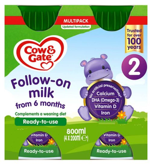 Cow & Gate 2 Follow On Milk Ready to Feed Multipack 4x200ml
