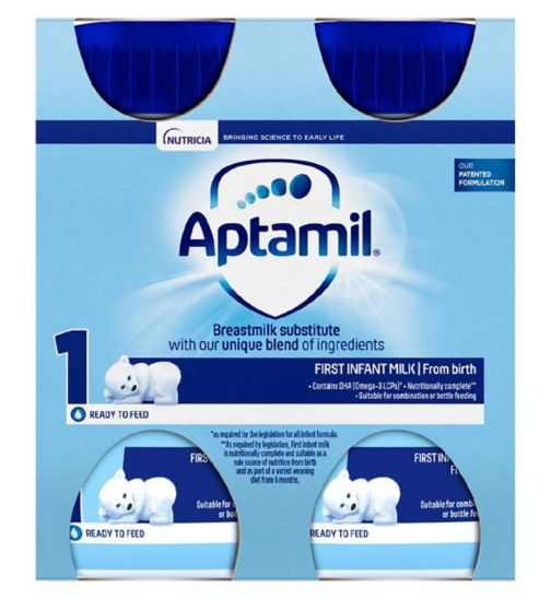 Aptamil First Infant Milk 1 from Birth 4 x 200ml