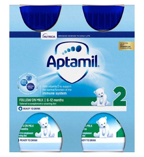 Aptamil Follow On Milk 2 6-12 Months 4 x 200ml