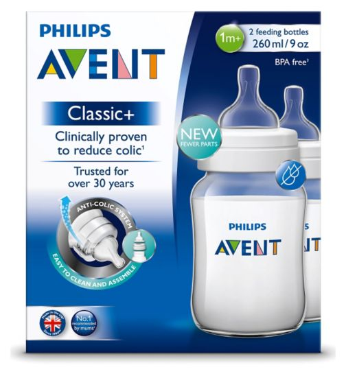 Philips Avent Classic+ 2 Feeding Bottles 1m+ 260ml