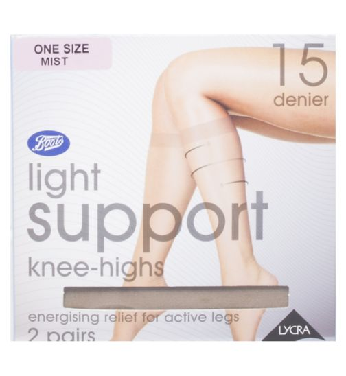 Boots Light Support Knee High One Size 15 Denier Mist (2 pairs)