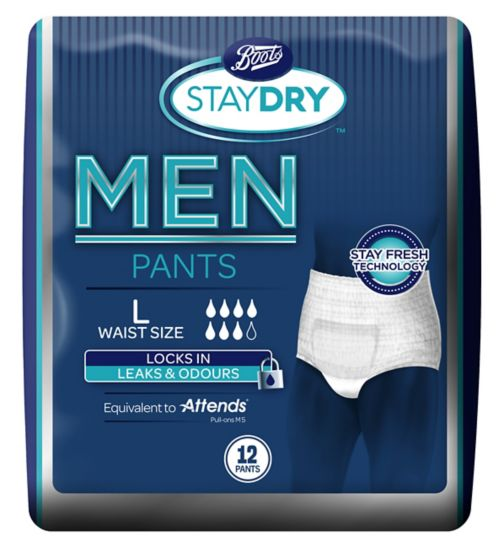 Boots Pharmaceuticals Staydry For Men Large - 12 Pants