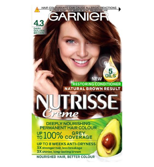 Garnier Nutrisse Crème Permanent Hair Colour 4.3 Dark Golden Brown