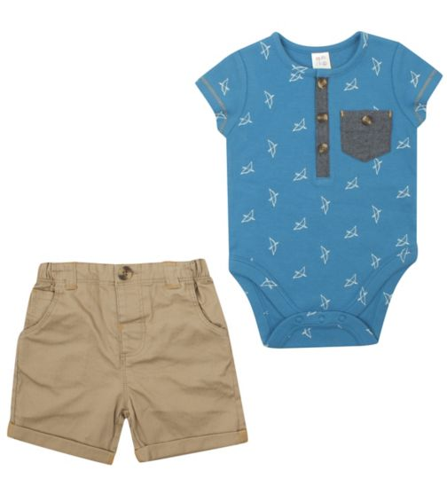 Mini Club Baby Boys Bodysuit and Shorts Set - Bows and Arrows