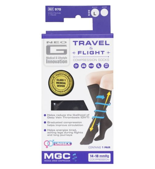 Neo G Travel and Flight Compression Socks Large Black