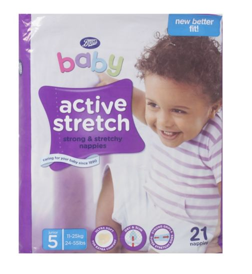 Boots Baby Active Stretch Nappies Size 5 Junior Carry Pack - 21 Nappies