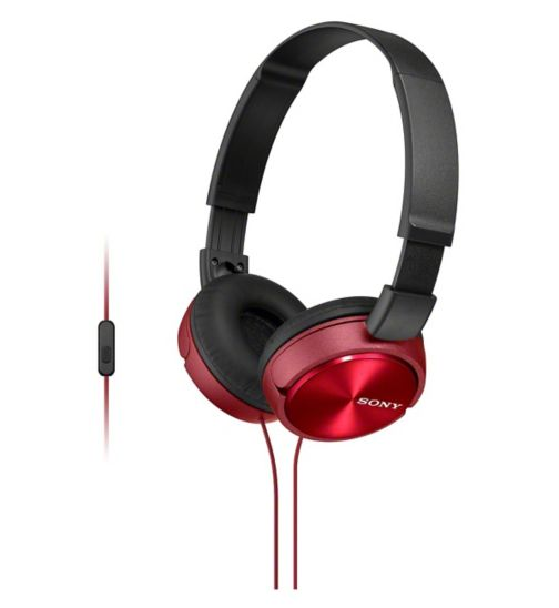 Sony ZX310 AP Headphones with a Built in Microphone- Red