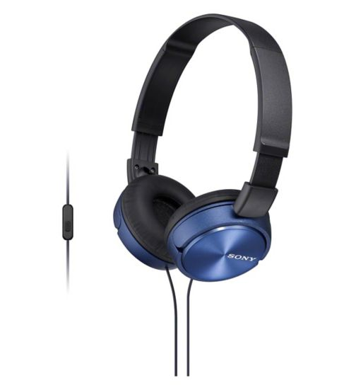 Sony powerful bassy foldable on ear headphones with built in mic blue ZX310