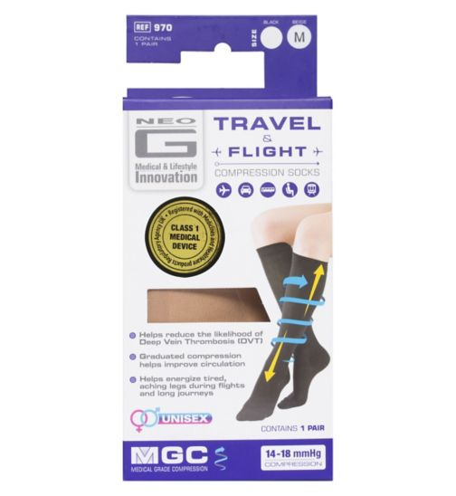 Neo G Travel and Flight Compression Socks Medium Beige