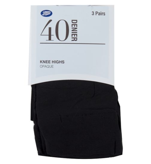 Boots Opaque Knee Highs One Size Black (3 pairs)