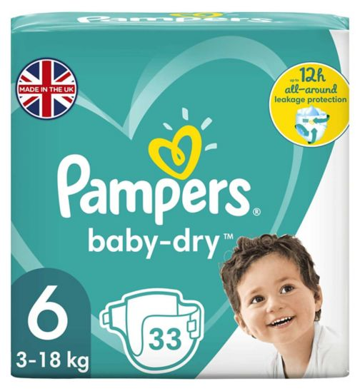 Pampers size 6 Baby-Dry nappies 13+kg 33s