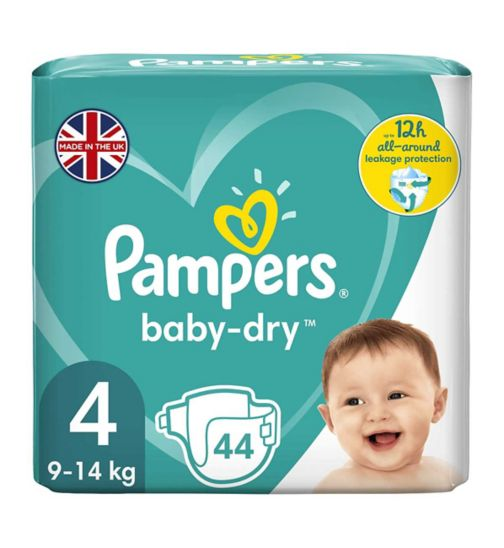 Pampers Baby-Dry Size 4, 44 Nappies, 8kg-16kg, With 3 Absorbing Channels