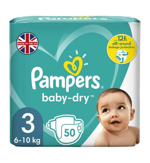 Pampers size 3 Baby-Dry nappies 6-10kg 50s