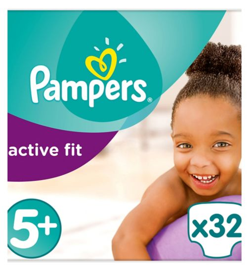 Pampers Active Fit Size 5+, 32 Nappies,13-25kg,With Magical Pods