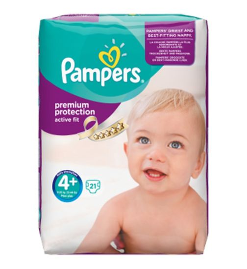Pampers Premium Protection Active Fit Size 4+ Carry Pack - 21 Nappies