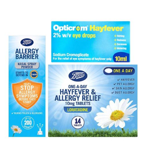 Allergy & Hayfever Bundle  - Loratadine;Boots Allergy Barrier Nasal Spray 800mg;Boots Allergy Barrier Nasal Spray 800mg;Boots One-A-Day Allergy Relief 10mg Tablets Loratadine 14 tablets;Boots Pharmaceuticals One-A-Day Allergy Relief 10mg Tablets - 14 Tablets;Opticrom Hayfever Eye Drops - 10ml;Opticrom hayfever eye drops 10ml