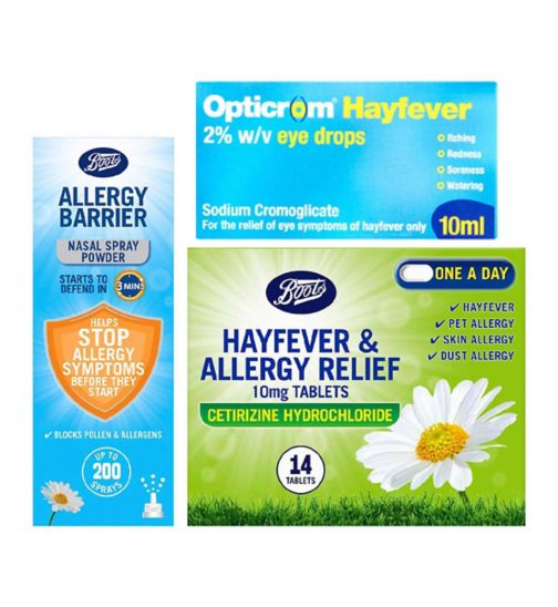 Allergy & Hayfever Bundle - Cetirizine;Boots Allergy Barrier Nasal Spray 800mg;Boots Allergy Barrier Nasal Spray 800mg;Boots Hayfever and Allergy Relief 10mg Tablets Cetirizine Hydrochloride 14 Tablets;Boots Pharmaceuticals Hayfever & Allergy Relief 10mg Tablets Cetirizine Hydrochloride - 14 tablets;Opticrom Hayfever Eye Drops - 10ml;Opticrom hayfever eye drops 10ml