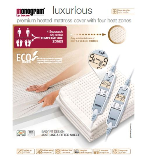 Monogram Luxurius Heated Mattress Cover - Super King/Dual