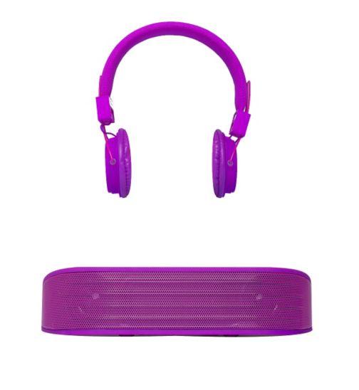 Vivitar Bluetooth Speaker and Headphones Set- Purple