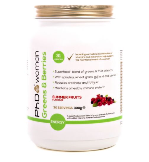 PhD Woman Greens and Berries Summer Fruits Flavour - 300g