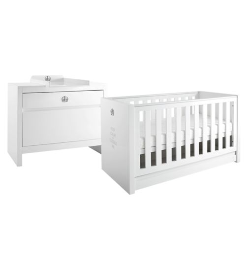 Tutti Bambini Sovereign 2 Piece Room Set (Cot, Chest) - High Gloss White