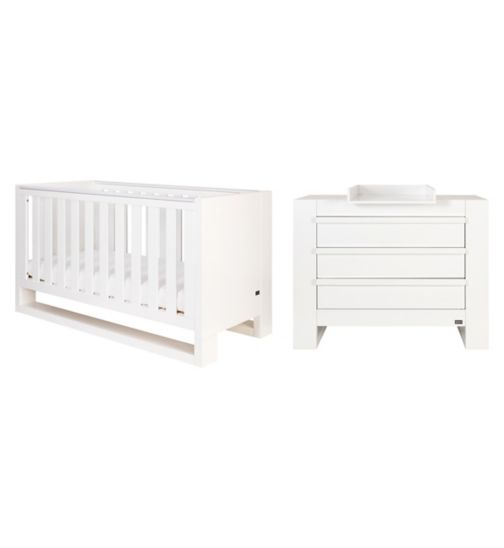 Tutti Bambini Rimini 2 Piece Room Set (Cot, Chest) - High Gloss White Finish