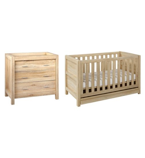 Tutti Bambini Milan 2 Piece Room Set (Cot, Chest) - Reclaimed Oak Finish