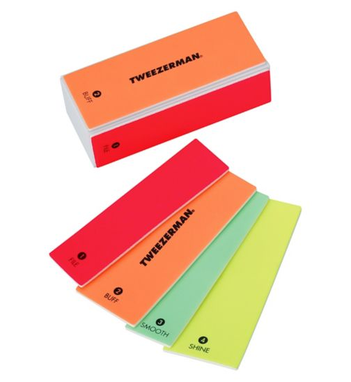 Tweezerman Neon Hot File, Smooth, Buff & Shine Block