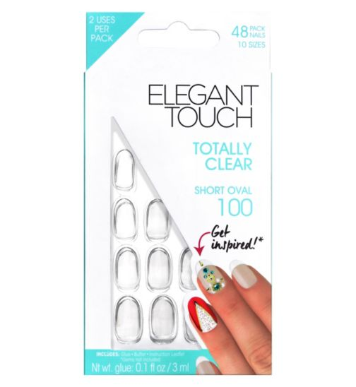 Elegant Touch Totally Clear - Short Oval Nails 100