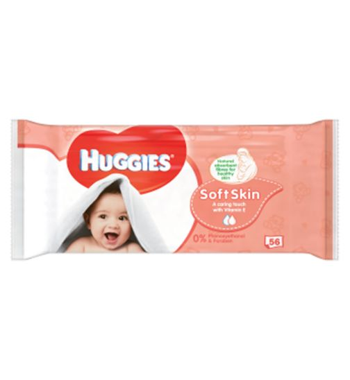 Huggies Baby Wipes Soft Skin Singles 56