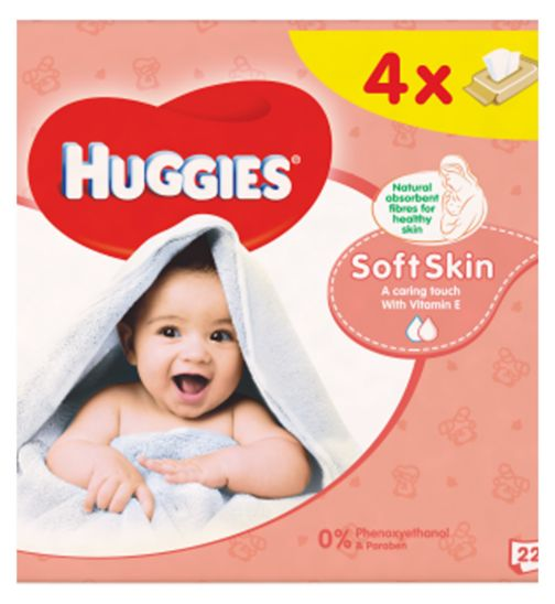 Huggies Baby Wipes Soft Skin Quads 56s