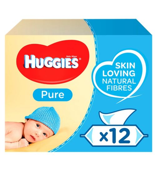 Huggies Pure Baby Wipes 56 pack x 12