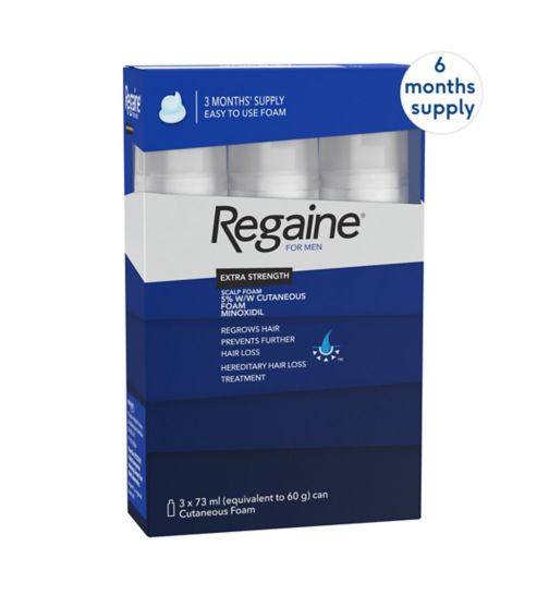 Regaine for Men Extra Strength Scalp Foam 5% w/w Cutaneous Foam - 6 months' supply