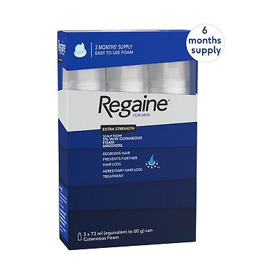 Regaine for Men Extra Strength Scalp Foam 5% w/w Cutaneous Foam - 6 months supply