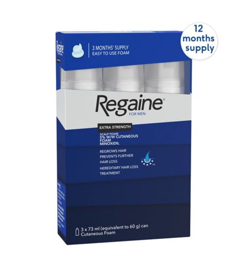 Regaine for Men Extra Strength Scalp Foam 5% w/w Cutaneous Foam - 12 months' supply