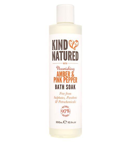 Kind Natured Nourishing Amber & Pink Pepper Bath Soak 300ml
