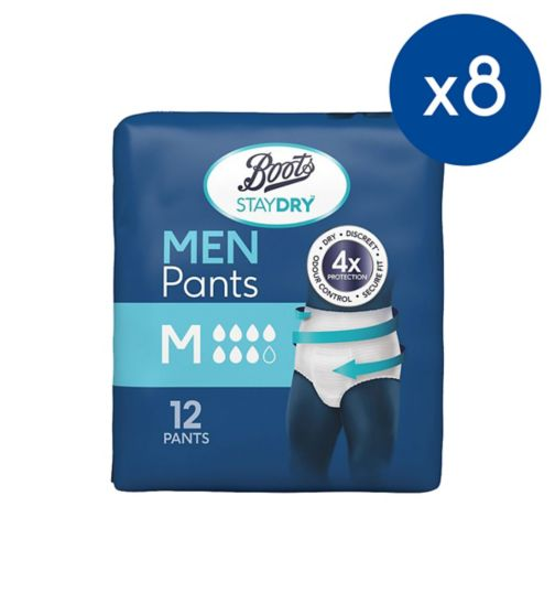 Boots Pharmaceuticals Staydry Pants For Men Medium - 12 pack;Boots Pharmaceuticals staydry men medium 12s;Boots StayDry Pants For Men Medium - 96 Pants (8 x 12 Pack)