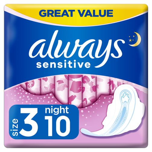 Always Sensitive Night Ultra (Size 3) Sanitary Towels  Wings 10 Pads