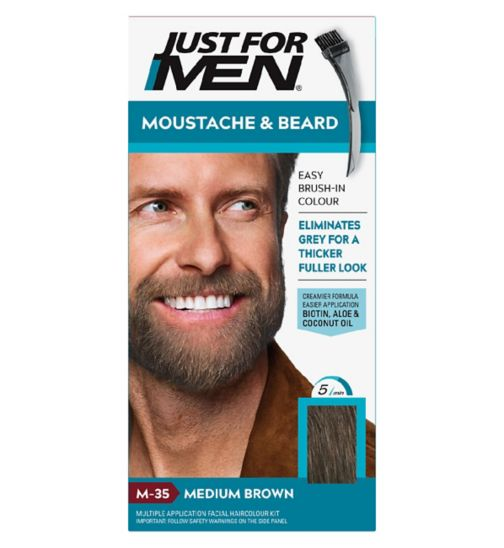 Just For Men Moustache & Beard Brush-In Colour Gel, Medium Brown