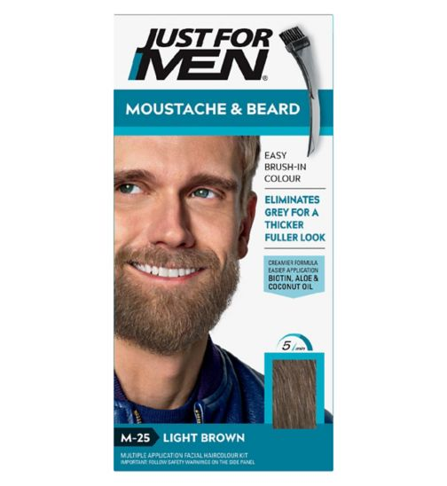Just For Men Moustache & Beard Brush-In Colour Gel, Light Brown