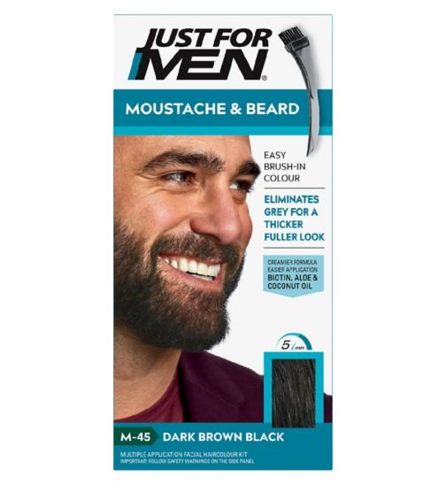 Just For Men Moustache & Beard Brush-In Colour Gel, Dark Brown - Black